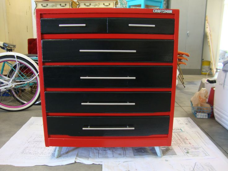 I want to make my boys a dresser like this! . Diamond plate toy box, tool box dresser...you name it! AWESOME!