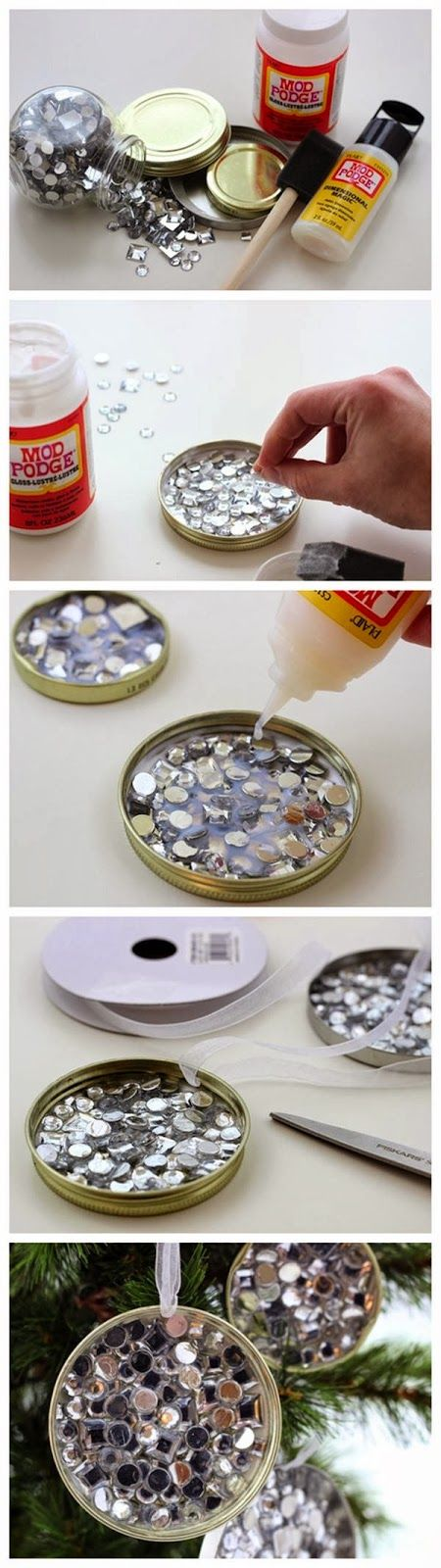 Easy and budget friendly DIY Christmas Ornament- simple rhinestone recycled ornament craft tutorial. This one might be fun to do with the gi...
