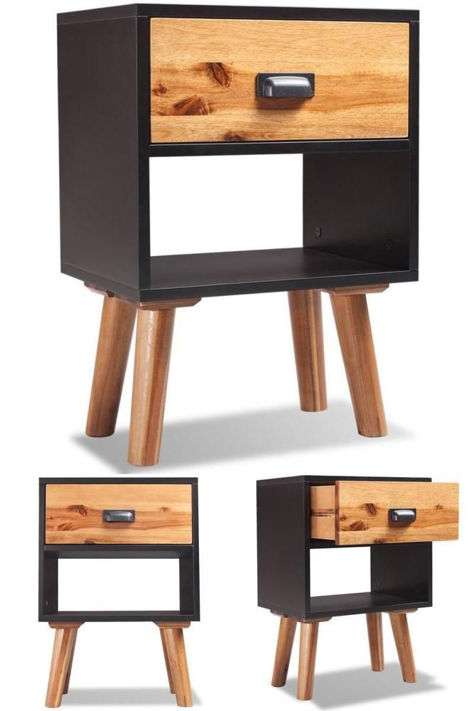 Black Retro Bedside Table Wooden Night Side Sofa Stand 2 Drawer Storage Unit