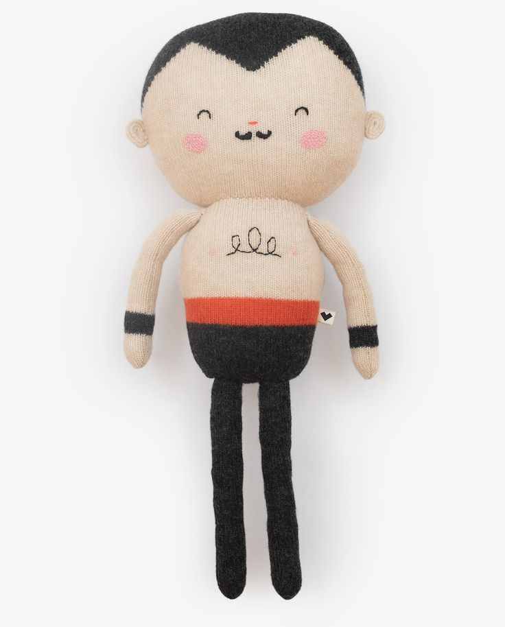 Cool sock plushie toy strong man, vintage retro style stuffiest, great gift make for little boys or rockabilly, hipster cool adult chums