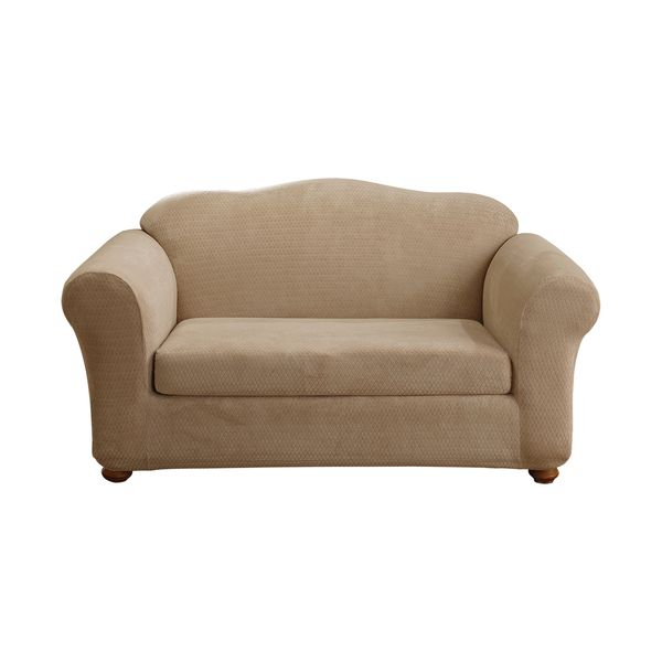 Sure Fit Stretch Royal Diamond Two Piece Loveseat Slipcover