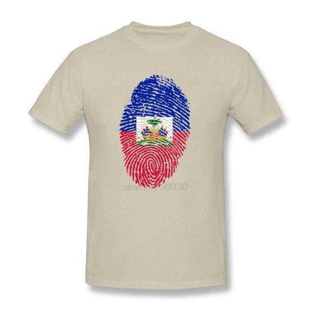 Haiti Flag Fingerprint Men's T-Shirts