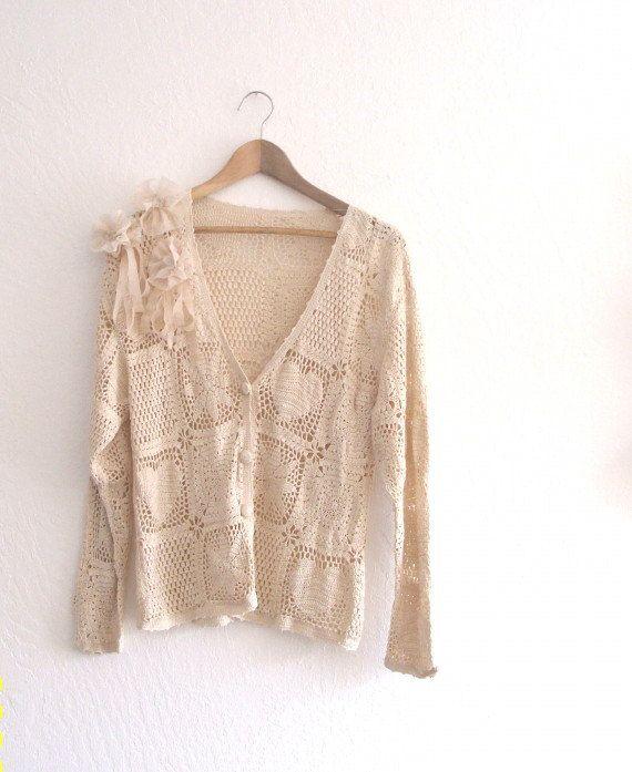 Shabby Chic/ Funky Dress/ Silk Crochet Cardigan/ Eco by KheGreen, $55.50