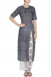 Red and White Checkered Straight Cut Kurta With Off White Narrow Pants