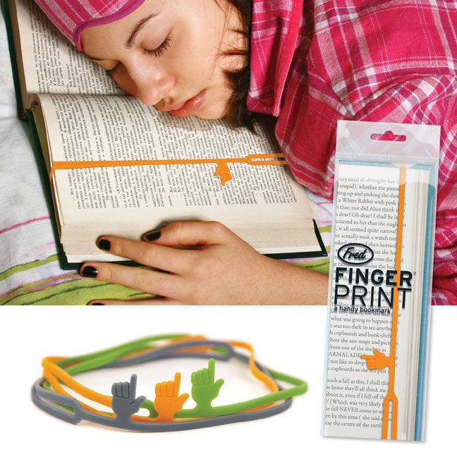 Genius idea for a bookmark....the little hand points to where you left off.