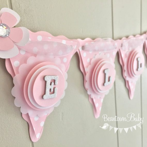 Pink Baby Banner Pink Baby Shower Banner by BeantownBabyShop