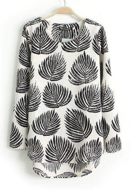 Black Long Sleeve Leaves Print Dipped Hem Blouse - Sheinside.com