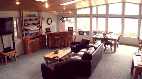 The lounge area of our Zeballos BC fishing lodge.