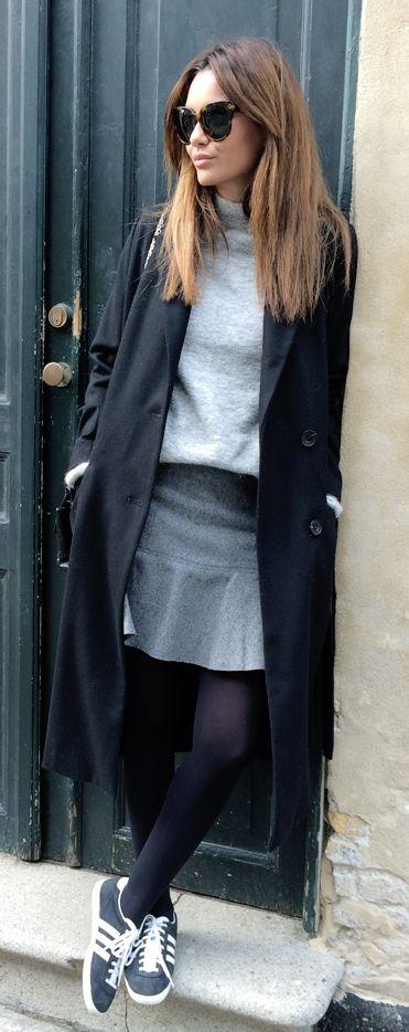 #street #style fall / black coat + gray turtleneck @wachabuy