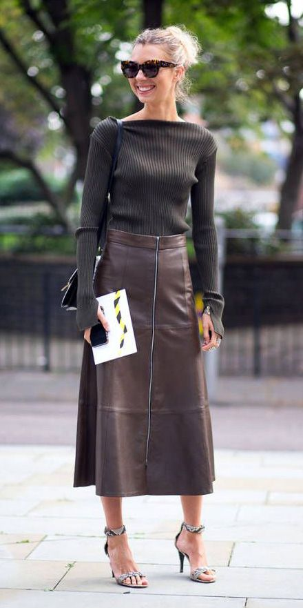 Brown midi skirts | Monochrome outfits: Styling them & accessorizing them | Leather midi skirt, Skirts, Fashion