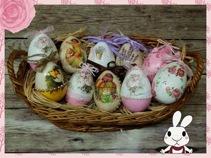 Easter eggs Húsvéti tojások Decoupade DIY Handmade