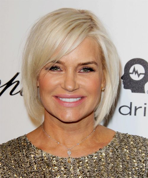 Yolanda Foster Bob Hairstyle - Medium Straight Casual - Light Blonde. Try on this hairstyle and view styling steps! http://www.thehairstyler.com/hairstyles/casual/medium/straight/yolanda-h-foster