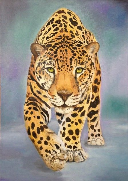 realistic oil painting of Jaguar on canvas 50x70cm  | eBay