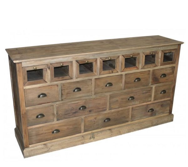 Industrial 19 Drawer Chest: This is one very unique and functional piece of farmhouse industrial furniture. Consisting of 19 drawers in various sizes this chest can be used just about anywhere. Convenient storage in your home office, dresser for the bedroom, sideboard for the dining room, you get the idea. Made of reclaimed pine with 12 bin pulls and 7 knobs, this industrial chest will look fantastic in your industrial chic home.
