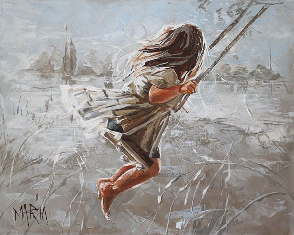 Couple running away painting
