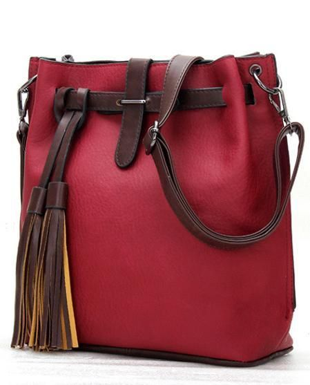 3d6758872761 TTOU Tassel Shoulder Bag Women Fashion Designer Bucket Bags Vintage  Crossbody Bag Pu Leather Messenger Bag Hot Sale Handbag
