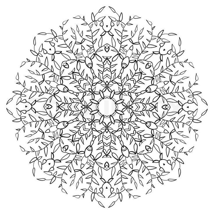 Stock vector of 'Vintage leaf ornament background. Vector illustration for your natural spring art design. Element for web design. Floral round lace wallpaper. White and black curly invitation.'