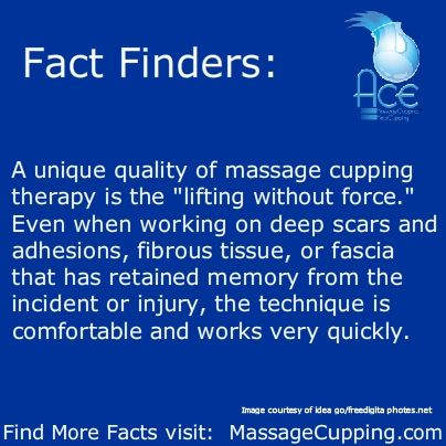 "Fact Finders: A unique quality of massage cupping therapy is the ""lifting without force."" Even when working on deep scars and adhesions, fibrous tissue, or fascia that has retained memory from the incident or injury, the technique is comfortable and works very quickly.  Find more facts at MassageCupping.com"