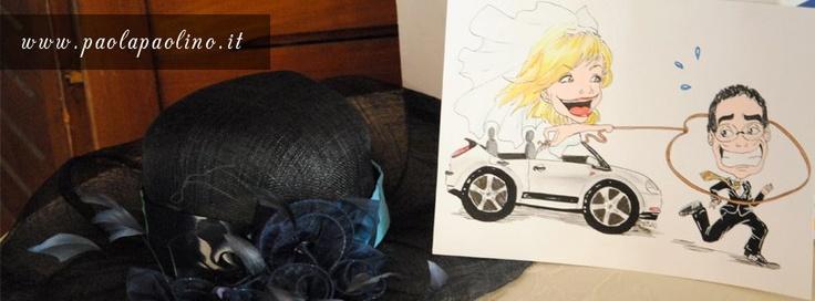 Una divertente caricatura degli sposi, poggiata vicino al cappello della sposa, al ricevimento.     Scopri di più su: http://www.paolapaolino.it/caricaturista-per-matrimoni-ed-eventi/ #caricature #caricatura #caricaturista #ritrattista #illustrazione #arte