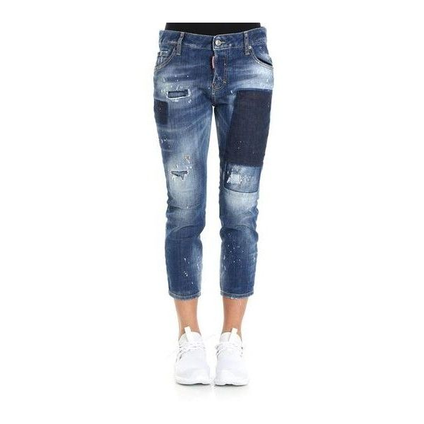 Dsquared2 Cool Girl Cropped Jeans (€485) ❤ liked on Polyvore featuring jeans, cropped jeans, blue jeans, dsquared2, tear jeans and dsquared2 jeans