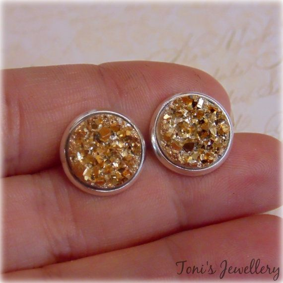 Gold Faux Druzy Earrings  Resin Rhinestone Cabochons  12mm