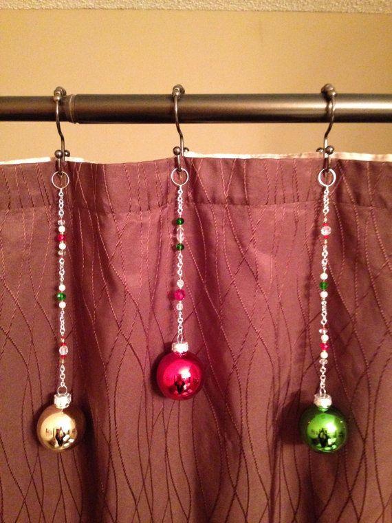 Christmas Shower Curtain Decoration Red by MariesSeasonalities