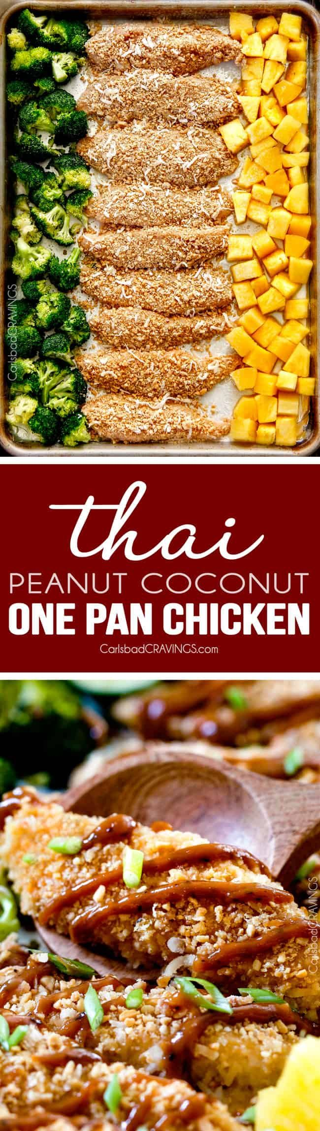 One Pan Thai Peanut Coconut Chicken with Pineapple - this is incredible! The chicken is breaded in peanuts, panko and coconut and the sauce of pineapple juice, coconut milk, brown sugar, peanut butter, etc. is the best peanut sauce I've ever have! and of course, the one pan is awesome! love the roasted pineapple! via @carlsbadcraving