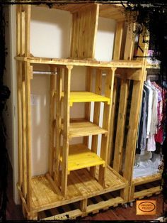 DIY Pallet Closet Organizer | 99 Pallets. I love the shelves in the middle! Would work great for shoes & sweaters in my closet