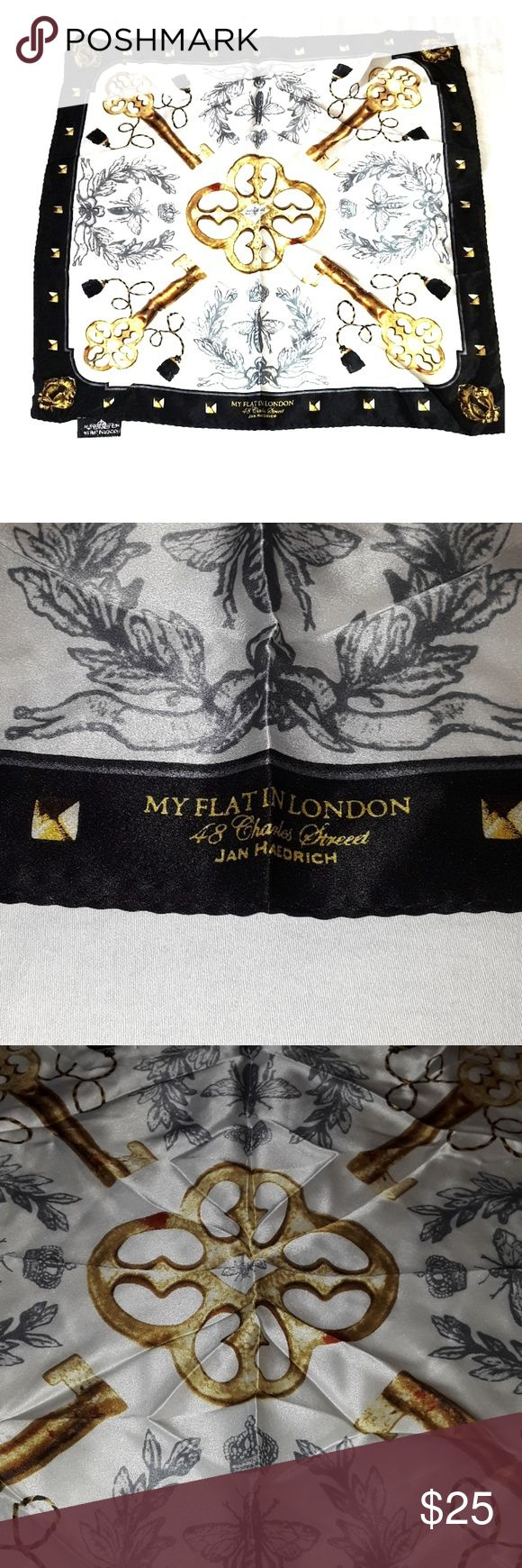 My Flat in London silk scarf My Flat in London silk scarf. Scarf is in gently used condition no stains, beautiful pattern has signature my flat in London logo on front. Gorgeous 100% silk, this is a smaller scarf that can be used on your bag or however you would like to use it, measurements are in pictures measures about 19 inch by 19 inch. Smoke-free home, look at photos before purchasing, as all sales are final happy Poshing. My Flat in London Accessories Scarves & Wraps