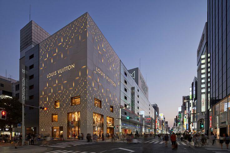 jun aoki's tokyo louis vuitton store features patterned façades - designboom | architecture