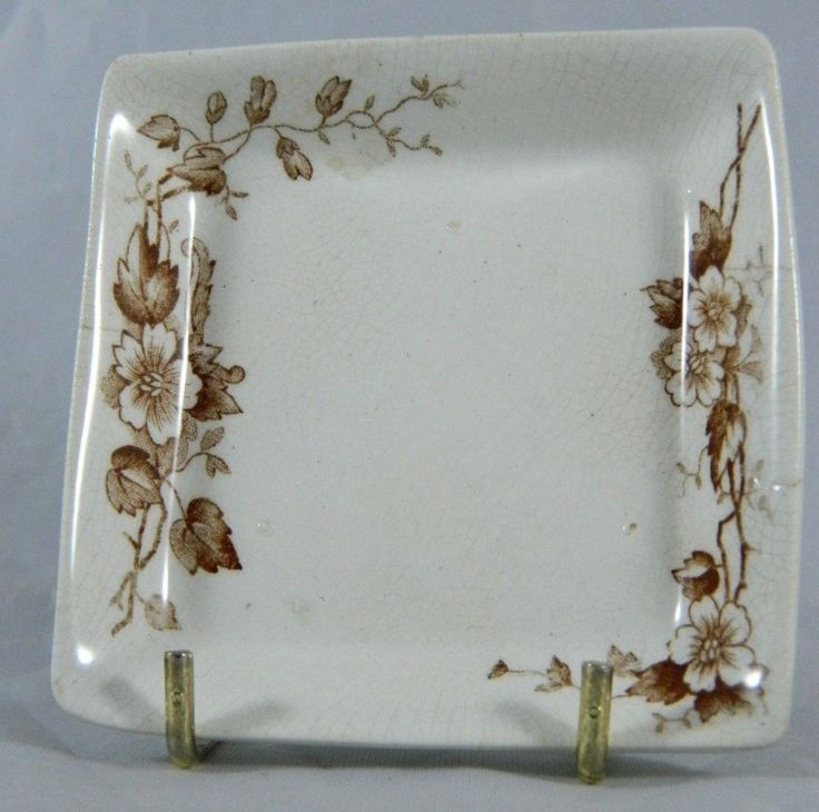 Antique Smith Ford & Jones BUTTER PAT Brown Transferware SF&J England Floral  #French #SmithFordJones