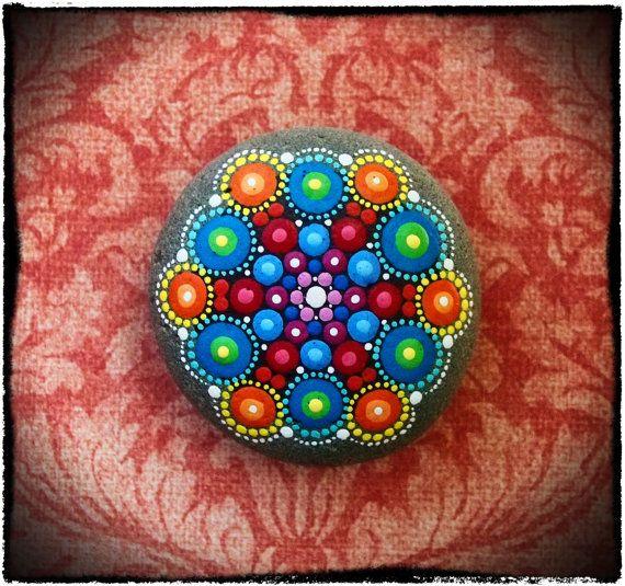 Jewel Drop Mandala Painted Stone (Rock Painting)