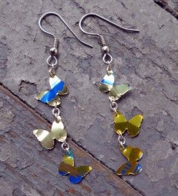 Yellow butterfly aluminum can earrings- Never knew you could do this!  you can punch cans with paper punches?!