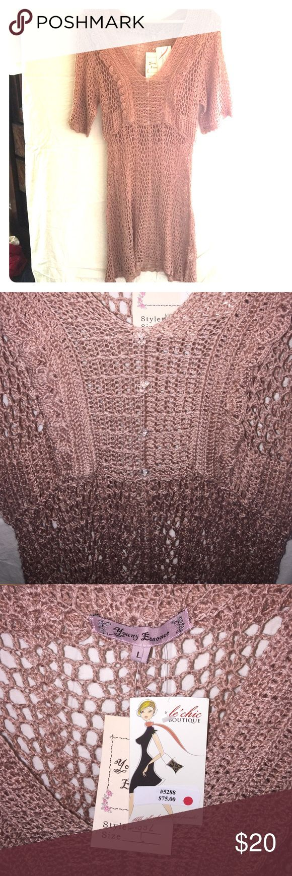 Crochet Dress NWTS Large Boutique This is a Young Essence brand full crochet dress, size Large. Free People style dress. This runs a bit small, will fit medium or petite large. New with tags, retail $75. Offers welcome! Young Essence Dresses Midi