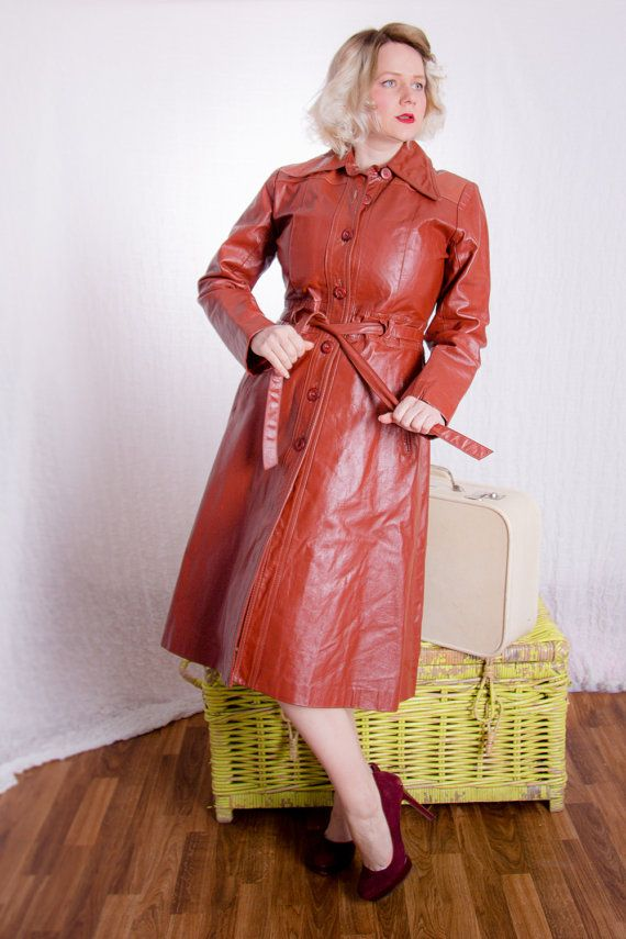 70's Leather Trench Coat Rust Brown Tailored by BirchEdenVintage