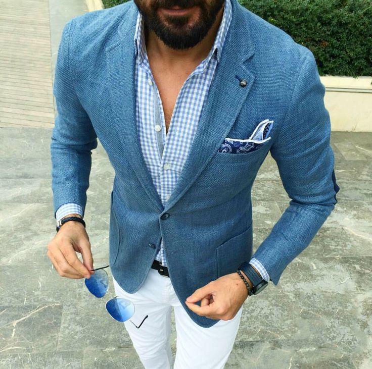 Blue blazer and white chinos.