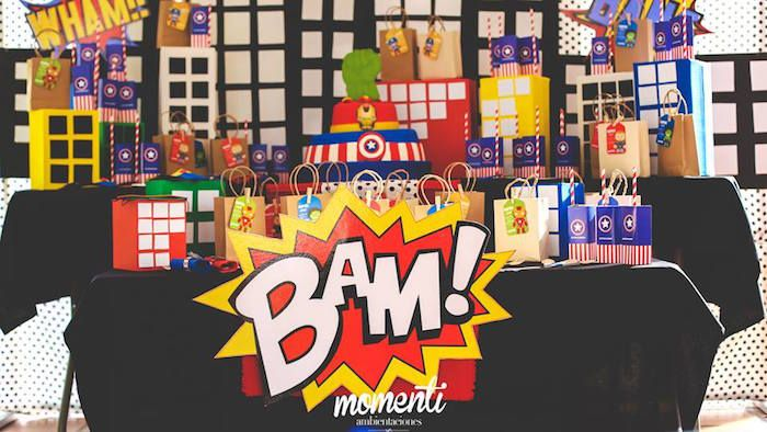 BAM! sign from Modern Avengers Birthday Party at Kara's Party Ideas. See the whole party at karaspartyideas.com!