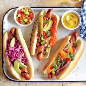 The Mexican Hot Dog, The Chicago Dog, and the Banh Mi Dog (left to right)