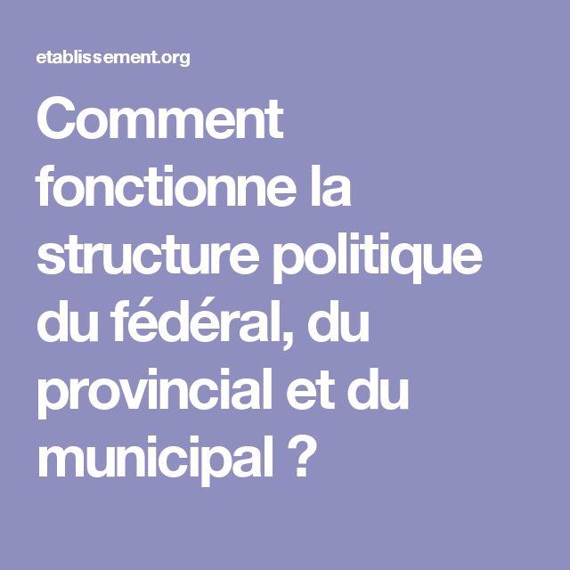 Comment fonctionne la structure politique du fédéral, du provincial et du municipal ?