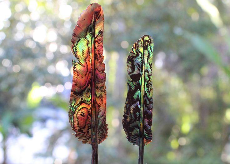 www.feathertribe.me / Abalone Paua Shell Feather Pendants
