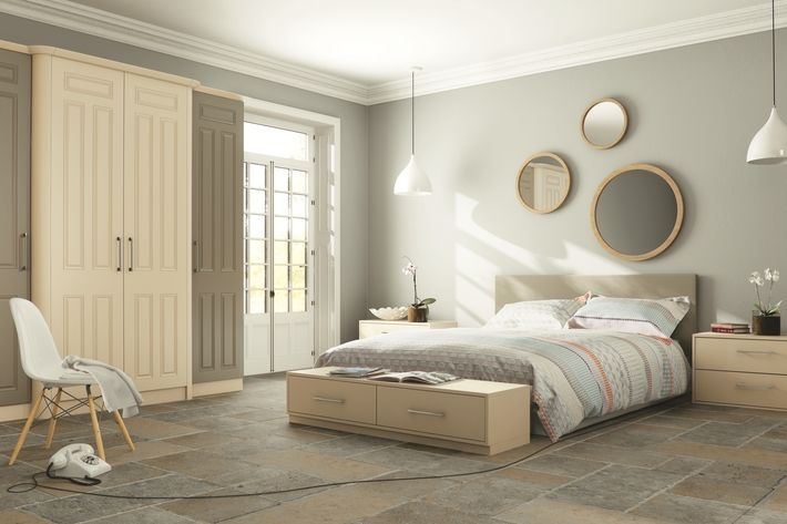 The Matt Mussel Olive Broadway bedroom design features traditional breakfront style doors. Let the lights of Broadway help you fall asleep as you enjoy the free-standing Mussel drawers and incredible colours.