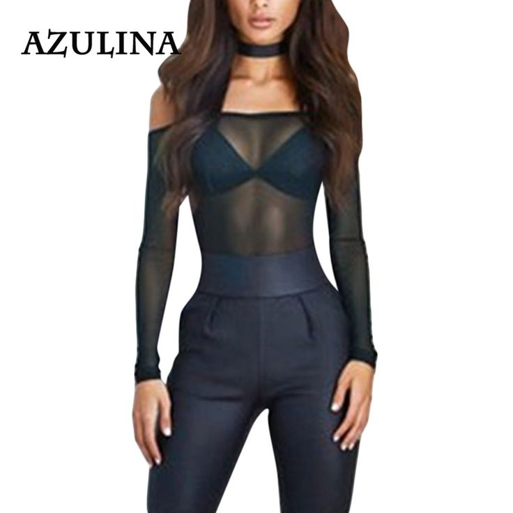 AZULINA Sexy Off The Shoulder Overalls for Women Black Leotard Bodycon Jumpsuit Romper See Through Lace Long Sleeve Bodysuits
