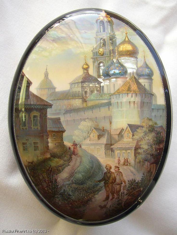 "Monashov Vladimir ""In Sergiev Posad"" - box, Fedoskino lacquer technique. $1280.00"