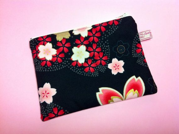 Cosmetic bag Sakura Flowers Black.