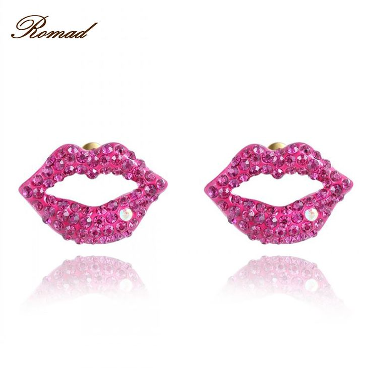 Romad Red Lip Stud Earrings For Women Wedding Engagement Hollow Red Lip Print  Earring Fashion Jewelry