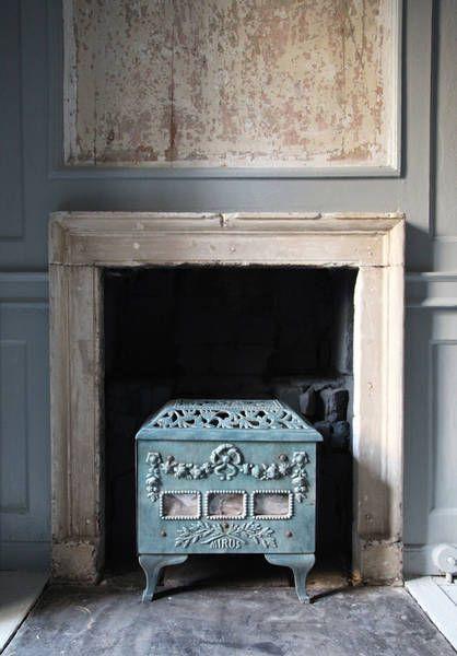 wood stove stone Georgian fireplace mantle- Berdoulat Interior Design
