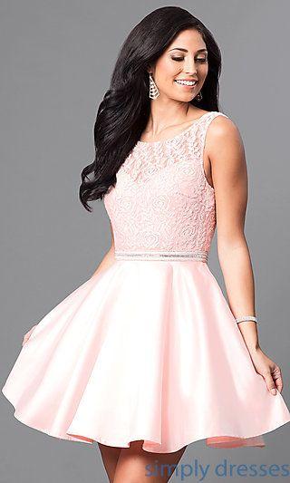 V-Back Lace-Bodice Short Homecoming Party Dress