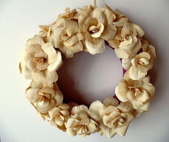 Corn Husk Flower Wreath by stellaspetals on Etsy