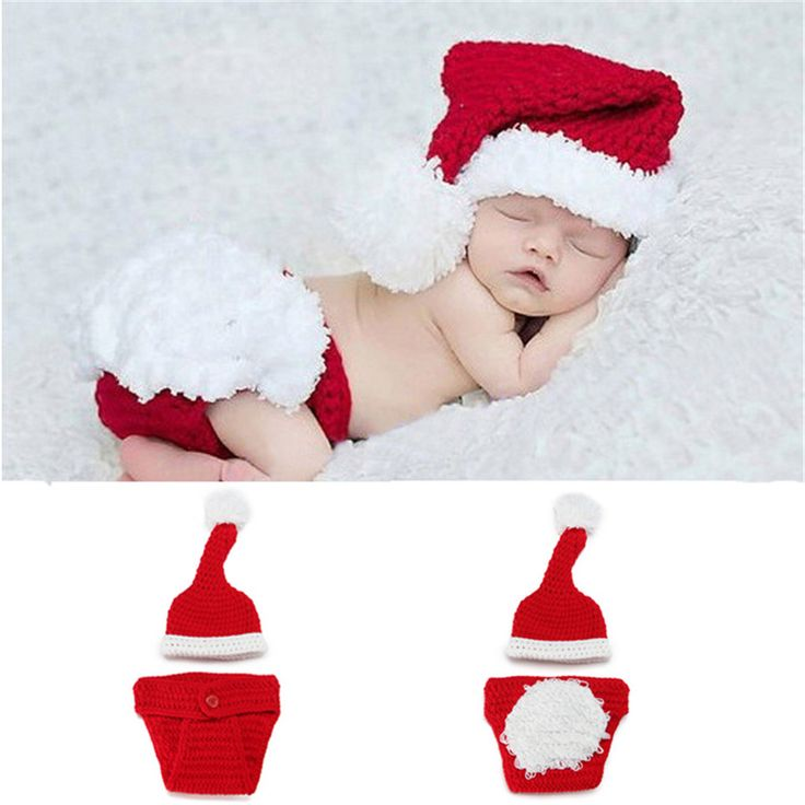 Newborn Baby Santa Claus Photo Props Infant Baby Christmas Hat Diaper Set Crochet Baby Hat Shorts Set for Photo Shoot MZS-14032