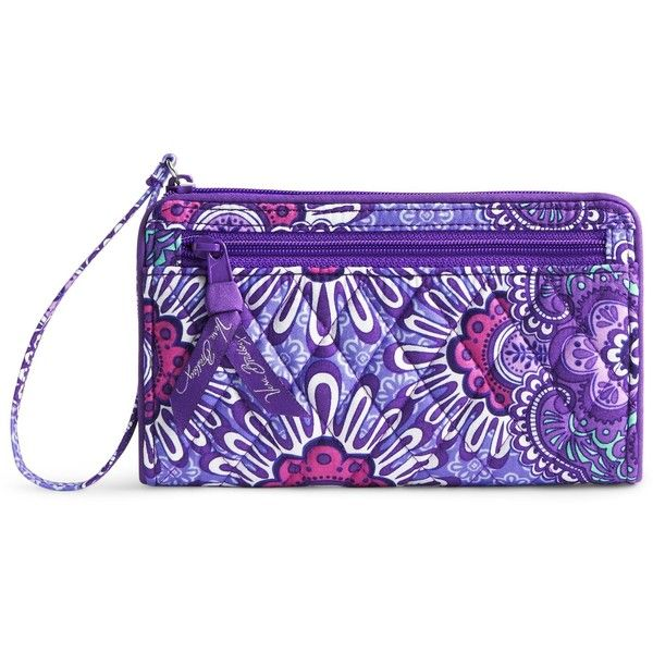 Vera Bradley Front Zip Wristlet in Lilac Tapestry ($34) ❤ liked on Polyvore featuring bags, handbags, clutches, vera bradley purses, vera bradley handbags and vera bradley